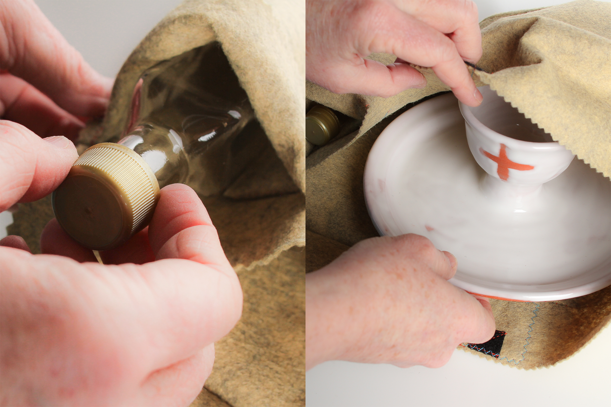 Natural Clay Cross Ceramic One-Handed Communion Set